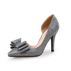 Women's Sparkling Glitter Stiletto Heel Pumps Closed Toe With Bowknot shoes