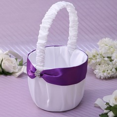 Classic/Beautiful Flower Basket in Satin With Sash