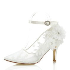 Women's Lace Stiletto Heel Closed Toe With Flower Applique