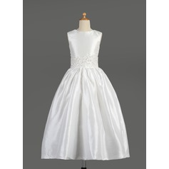 A-Line/Princess Ankle-length Flower Girl Dress - Taffeta Sleeveless Scoop Neck With Lace/Beading