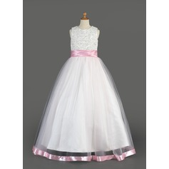 A-Line/Princess Floor-length Flower Girl Dress - Organza/Charmeuse Sleeveless Scoop Neck With Sash/Beading/Sequins