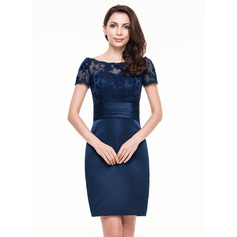 Sheath/Column Off-the-Shoulder Knee-Length Satin Lace Cocktail Dress With Ruffle