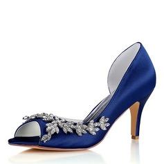 Women's Silk Like Satin Stiletto Heel Peep Toe Pumps With Others