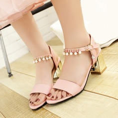 Women's Leatherette Chunky Heel Sandals With Buckle Imitation Pearl