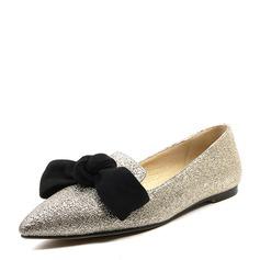 Donna Glitter scintillanti Senza tacco Ballerine Punta chiusa con Bowknot scarpe