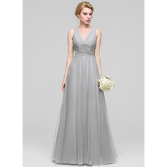 A-Line/Princess V-neck Floor-Length Tulle Evening Dress With Ruffle Beading