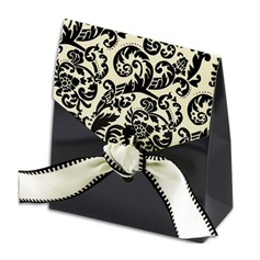 Classic Damask Favor Bags with Ivory & Black Ribbon