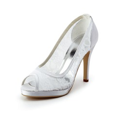 Women's Lace Satin Cone Heel Peep Toe Platform Sandals