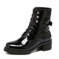 Women's Leatherette Low Heel Boots Ankle Boots Martin Boots With Lace-up shoes
