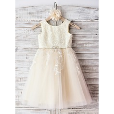 A-Line/Princess Knee-length Flower Girl Dress - Tulle Sleeveless Scoop Neck With Flower(s)/Bow(s)