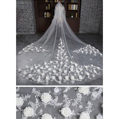 Two-tier Lace Applique Edge Cathedral Bridal Veils With Applique/Satin Flower
