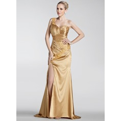 A-Line/Princess One-Shoulder Sweep Train Charmeuse Holiday Dress With Ruffle Beading Appliques Lace Split Front