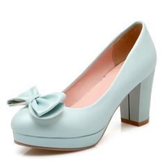 Vrouwen Kunstleer Chunky Heel Pumps Plateau Closed Toe met strik schoenen