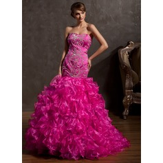 Trumpet/Mermaid Sweetheart Sweep Train Organza Prom Dress With Beading Sequins Cascading Ruffles