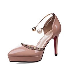 Women's Patent Leather Stiletto Heel Closed Toe Platform Pumps Sandals With Buckle Imitation Pearl