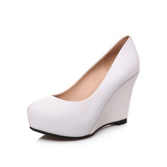 Women's Real Leather Wedge Heel Pumps Closed Toe Wedges shoes