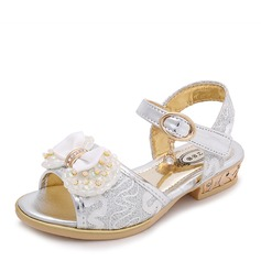 Girl's Peep Toe Leatherette Flat Heel Sandals Flats Flower Girl Shoes With Beading Bowknot