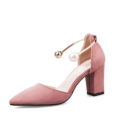 Women's Suede Chunky Heel Closed Toe Pumps Sandals With Buckle Imitation Pearl