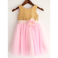 A-Line/Princess Tea-length Flower Girl Dress - Tulle/Sequined Sleeveless Scoop Neck With Appliques/Flower(s)/Sequins