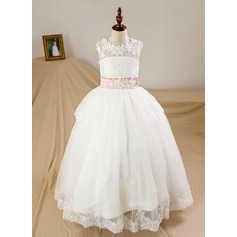 Ball-Gown Scoop Neck Floor-Length Tulle Junior Bridesmaid Dress With Sash Bow(s)