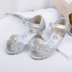 Girl's Peep Toe Leatherette Flat Heel Flats Flower Girl Shoes With Bowknot Velcro Crystal Pearl