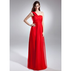 Empire One-Shoulder Floor-Length Chiffon Evening Dress With Ruffle