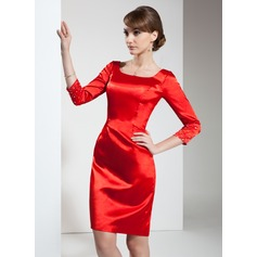 Sheath/Column Square Neckline Knee-Length Charmeuse Cocktail Dress With Beading