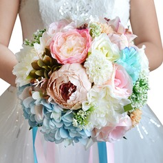 Lovely Round Ribbon/Silk linen Bridal Bouquets