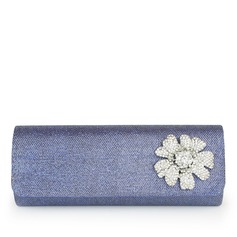 Shining Satin With Flower/Rhinestone Clutches