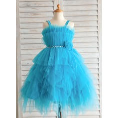 Empire Tea-length Flower Girl Dress - Satin/Tulle/Cotton Straps With Flower(s)/Rhinestone
