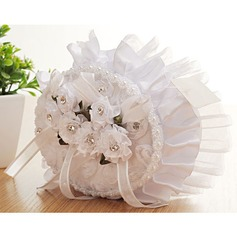 Elegant Rose Ring Pillow in Cloth With Flowers/Lace