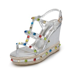 Women's PU Wedge Heel Sandals Wedges Peep Toe Slingbacks With Rhinestone shoes