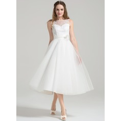 A-Line/Princess Scoop Neck Tea-Length Tulle Lace Wedding Dress With Ruffle Flower(s)