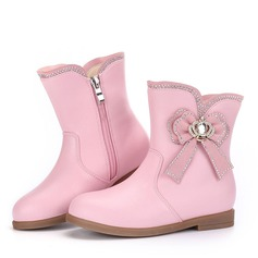 Girl's Round Toe Closed Toe Mid-Calf Boots Microfiber Leather Low Heel Boots Flower Girl Shoes With Bowknot Zipper