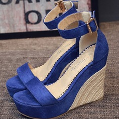 Women's Suede Wedge Heel Sandals Platform Wedges Peep Toe With Braided Strap shoes