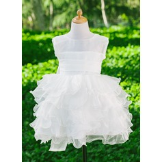 Empire Flower Girl Dress - Satin Sleeveless Scoop Neck