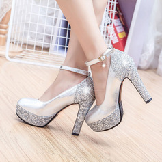 Women's Leatherette Chunky Heel Closed Toe Platform Pumps With Sparkling Glitter