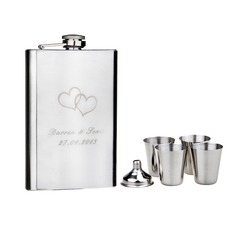Personalized Double Hearts Stainless Steel Flask