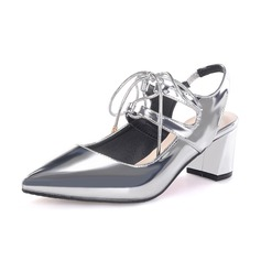 Women's Patent Leather Chunky Heel Pumps Closed Toe Slingbacks shoes