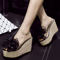 Women's PVC Wedge Heel Sandals Wedges Slippers With Flower shoes