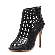 Women's Leatherette Stiletto Heel Sandals Peep Toe With Hollow-out shoes