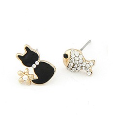 Cat Shaped Alloy Coloured Glaze With Rhinestone Women's Fashion Earrings