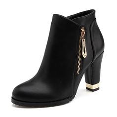 Vrouwen PU Chunky Heel Pumps Closed Toe Enkel Laarzen met Keten schoenen