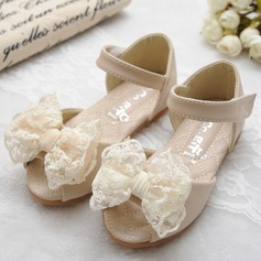 Girl's Peep Toe Microfiber Leather Flat Heel Sandals Flats Flower Girl Shoes With Bowknot Velcro