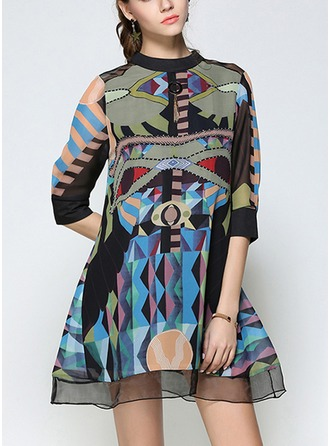 Chiffon With Tassel/Stitching/Print Above Knee Dress