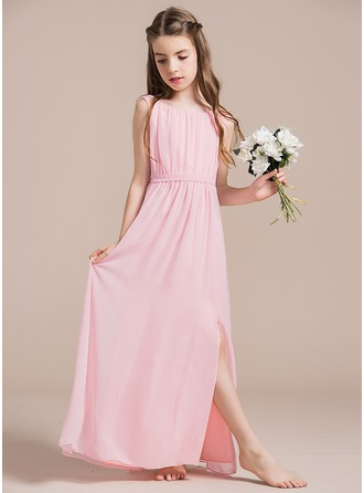 Scoop Neck Floor-Length Chiffon Junior Bridesmaid Dress With Ruffle Split Front
