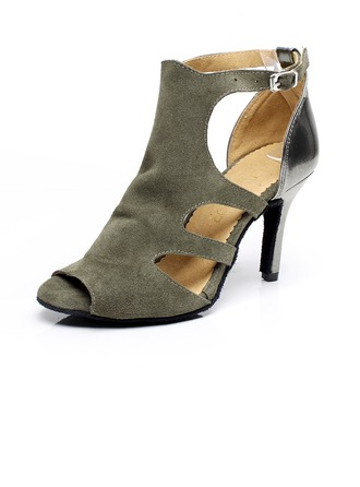 Women's Leatherette Suede Heels Sandals Latin With Buckle Dance Shoes