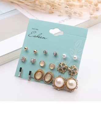 Unique Alloy Rhinestones Imitation Pearls Women's Fashion Earrings (Set of 9)