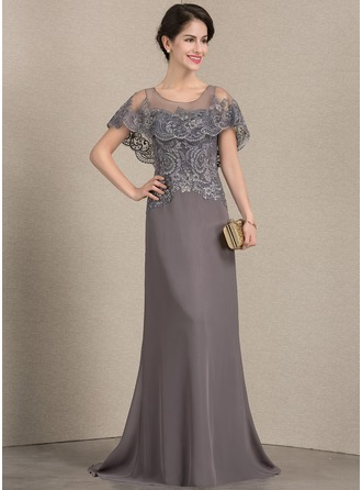 Scoop Neck Sweep Train Chiffon Lace Mother of the Bride Dress