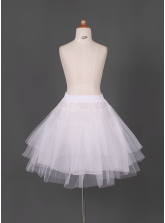 Girls Tulle Netting/Taffeta Short-length 3 Tiers Petticoats